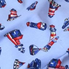60% OFF Cotton Boats and Lighthouse Nautical Print Fabric x 0.5m